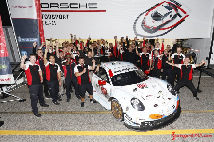 Porsche wins 2018 Petit Le Mans: Seen here is the jubilant, celebrating No. 911 victory team after winning the race. Credit: Porsche AG