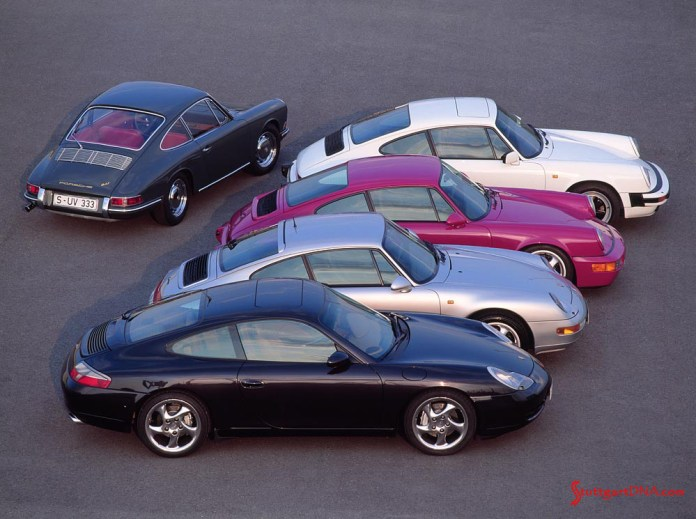 """996-gen Porsche 911 Buyer Guide: Seen here are multiple generations of the 911. The first 911 from 1963 (at an angle on top), and its """"offspring"""": The """"G"""" model, the 964-gen, the 993-gen and the 996-gen (from top to bottom). Credit: Porsche AG"""