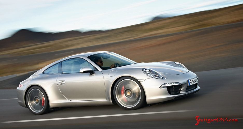 November 2018 Porsche USA sales: Seen here is a silver Porsche 911 (Type 991) from its right side, gorgeously at speed. Credit: Porsche AG. Silver 991 right side at speed.
