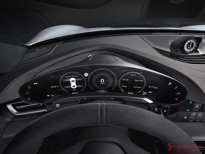 Porsche Taycan first electric sports car world premiere: The detached, free-standing Taycan instrument cluster is seen in this photo. Credit: Porsche AG