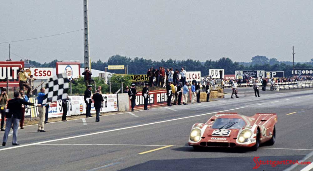 History of Porsche's 19 overall wins at 24 Hours of Le Mans: Seen here is the No. 23 Porsche 917 KH of Richard Attwood (GBR) and Hans Herrmann (DEU) taking the checkered flag at the 1970 Le Mans 24. This is Porsche's first overall Le Mans win. Credit: Porsche AG