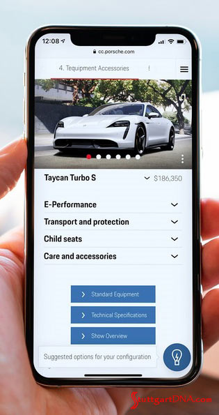 Porsche Car Configurator conjures Artificial Intelligence: Depicted here is a smartphone displaying the AI Porsche Car Configurator. Credit: Porsche AG