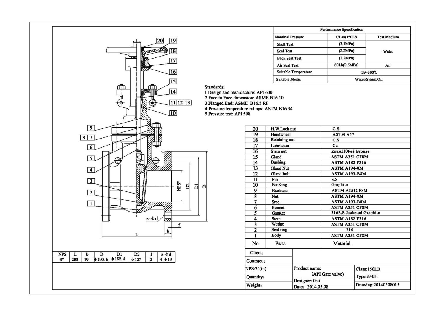 Stainless Steel Flange Gate Valve Cf8 Body And 304 Trim 150lb 3 Inch Industrial Valves