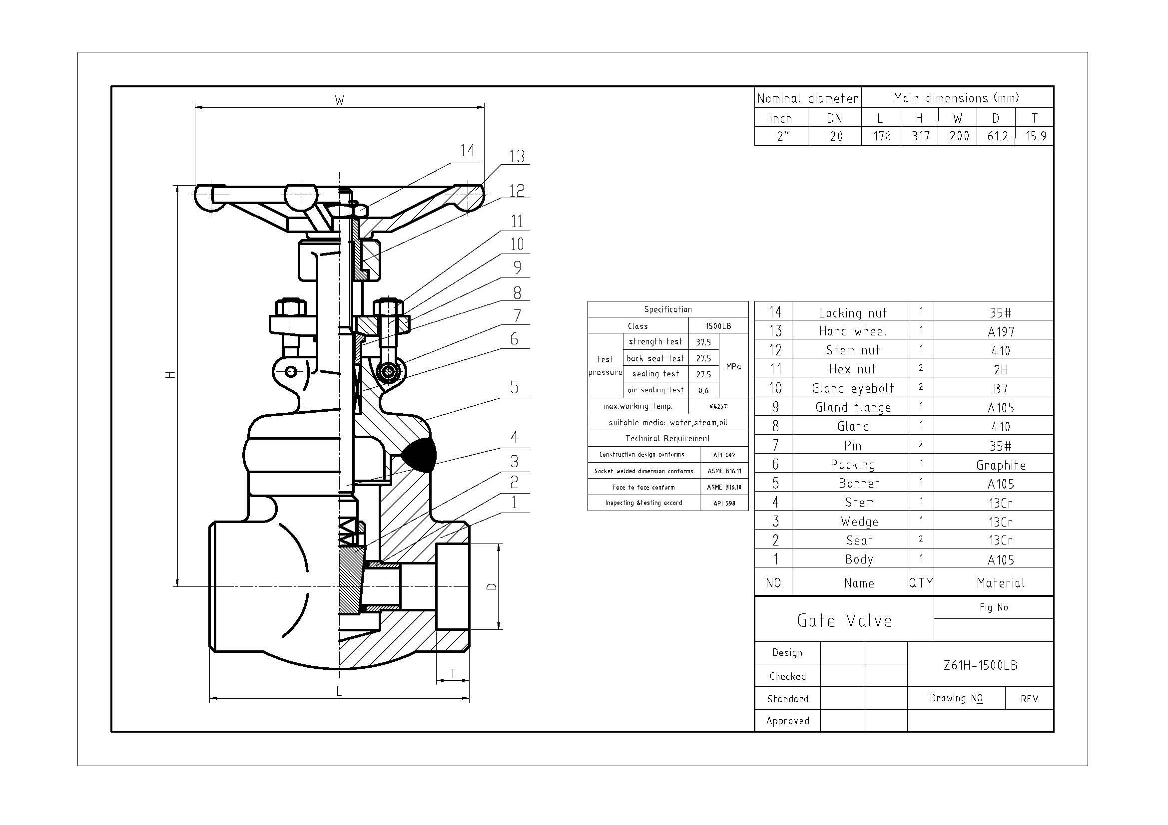 Lb Forged Steel Weld Bonnet Gate Valve A105n Body Dn50 Socket Weld End Industrial Valves