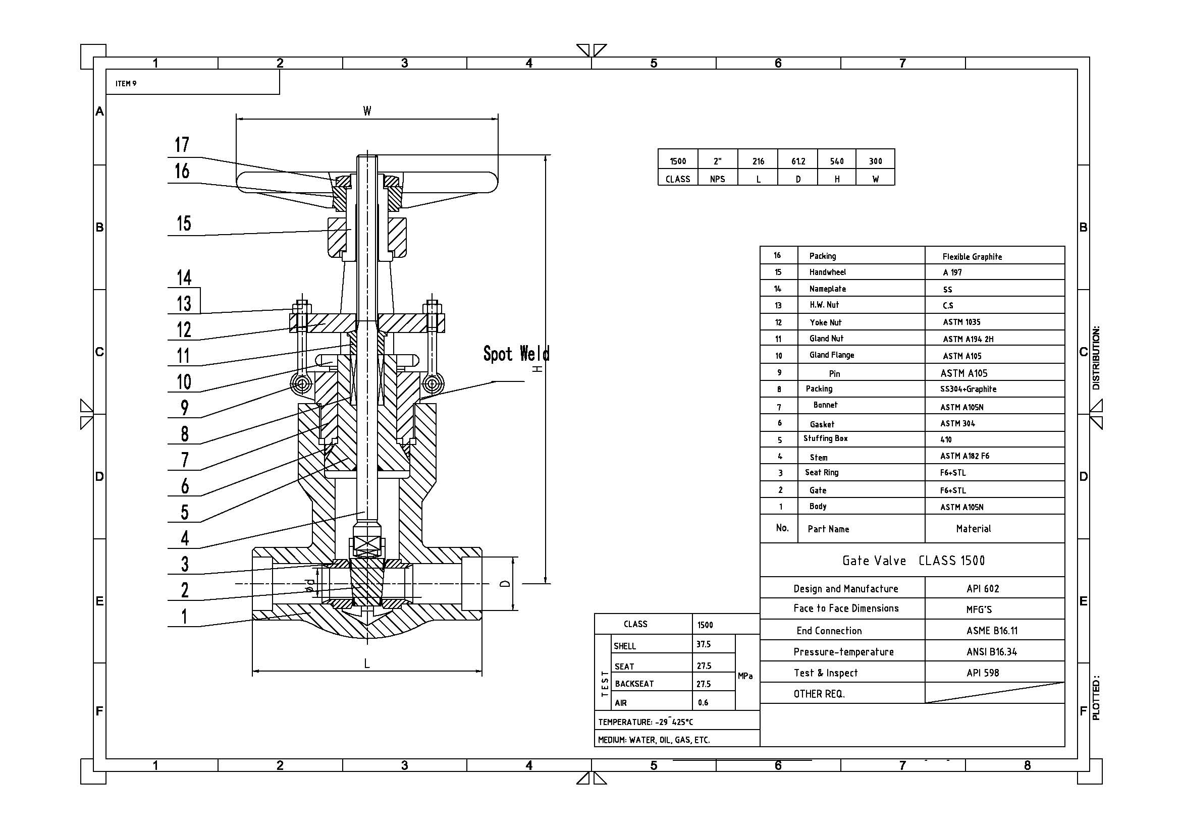 Lb Seal Bonnet Gate Valve Api 602 A105n Body Dn50 Sw