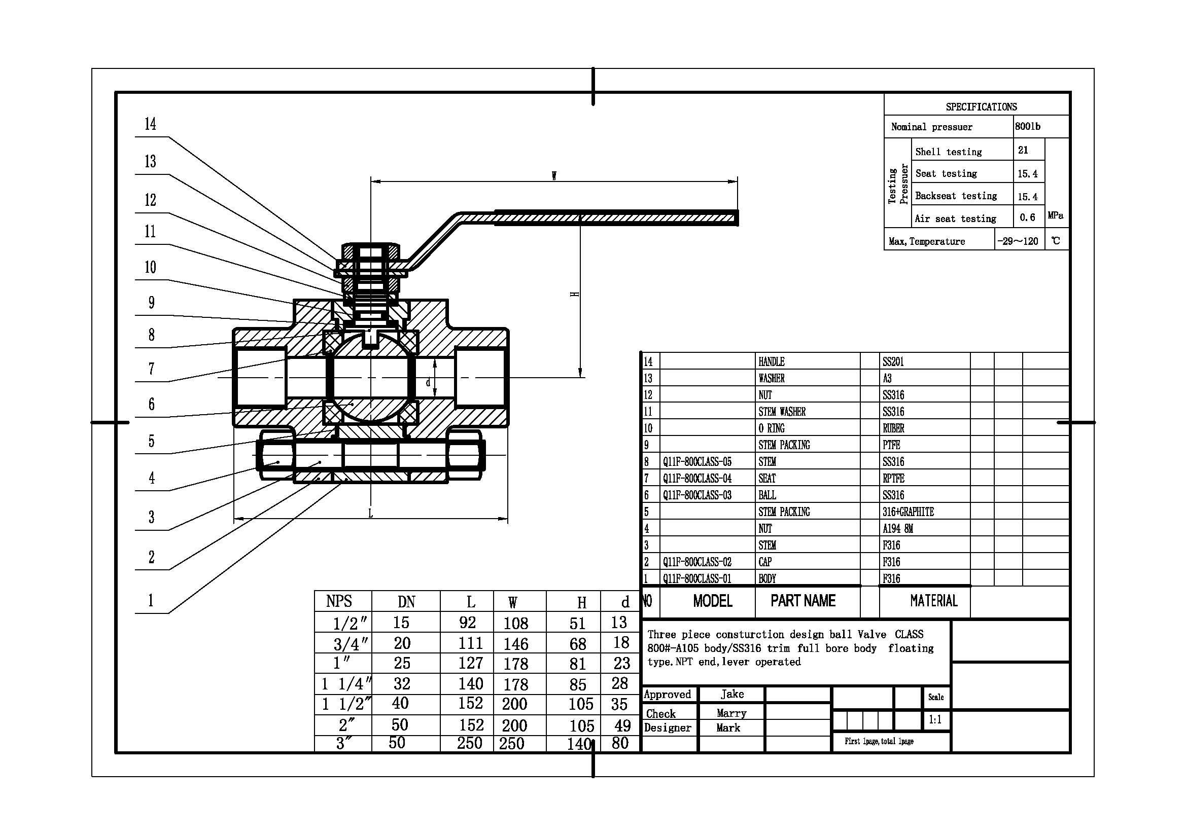 3pc Peek Seat Ball Valve 800lb F316 Body 316 Trim 3 Inch