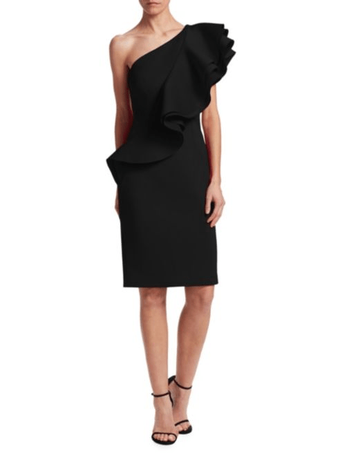 Nero by Jatin Varma One-Shoulder Ruffle Sheath Dress