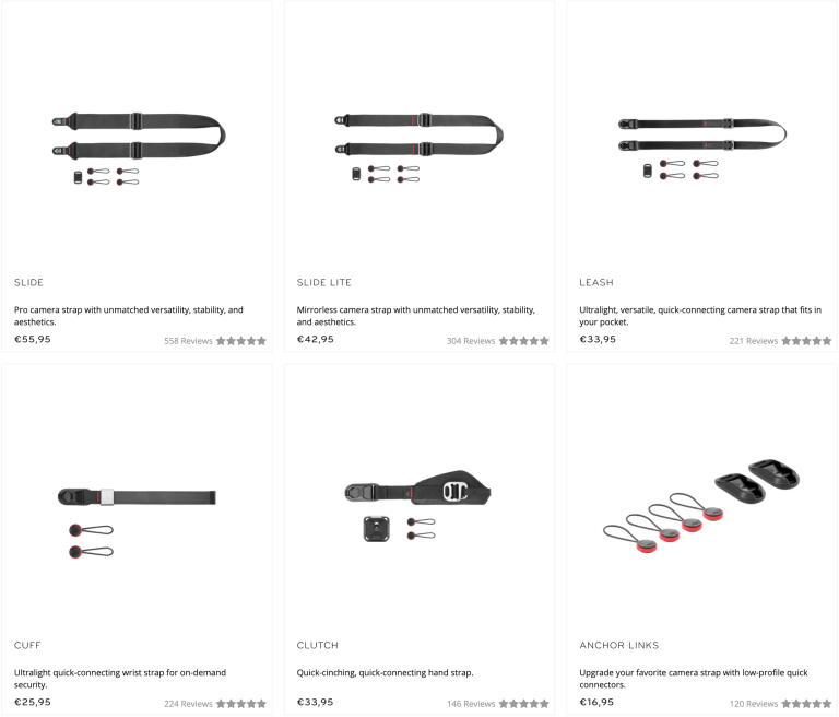 The selection of straps available on Peak Design's website