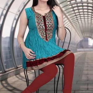 ferozi kurti with red jaggings