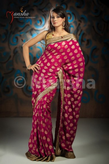 Eid-ul-Fitre 2012 Designer Saree Collection by Mansha012