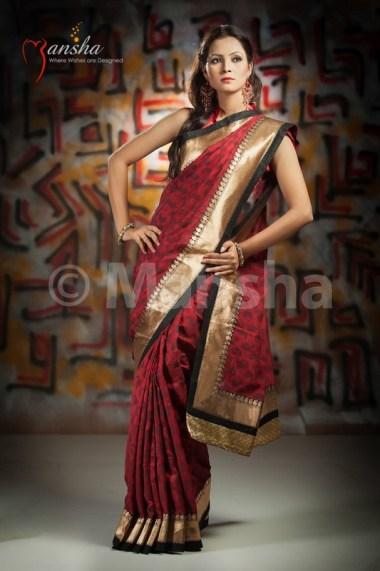 Eid-ul-Fitre 2012 Designer Saree Collection by Mansha014