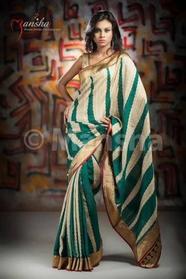 Eid-ul-Fitre 2012 Designer Saree Collection by Mansha015