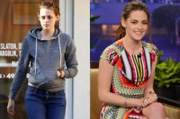 Kristen Stewart With&without makeup