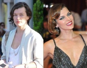 Milla Jovovich With&without makeup