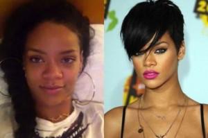 Rihanna With&without makeup