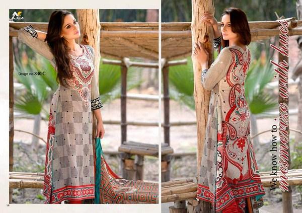 Ajwa Textiles Lawn Dresses 2014 Volume 4 For Women 003