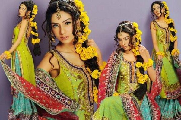 Trends of Multi Color Mehndi Dresses 2014 007