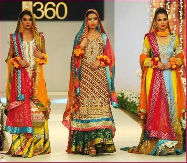 Trends of Multi Color Mehndi Dresses 2014 009