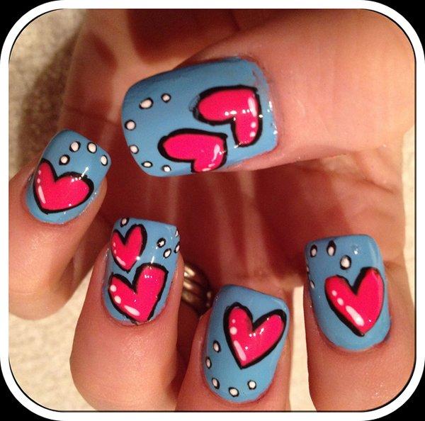 Heart Nail Art Designs 2014 For Women 0014