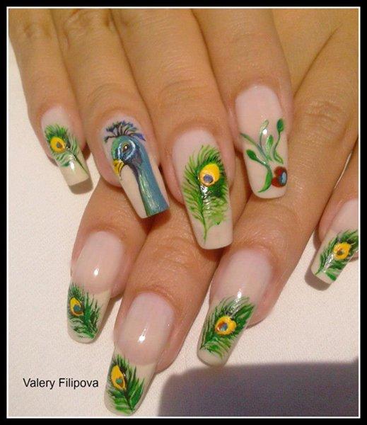 Peacock Nail Art Designs For Summer Season 002