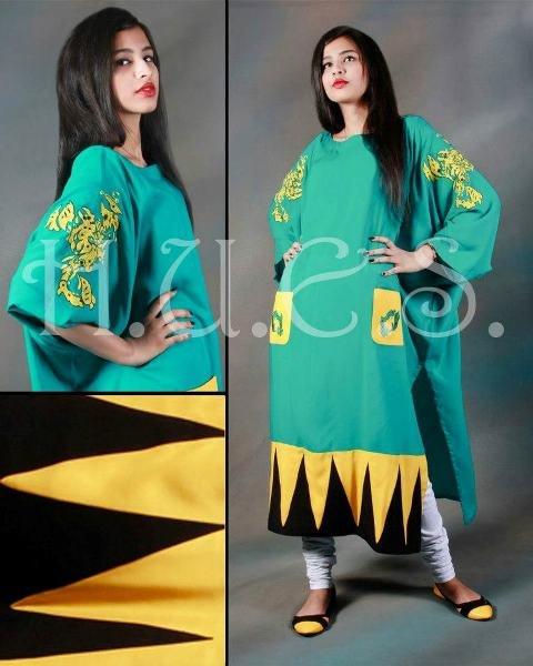 Fashion Of Long Shirts 2014 With Churidaar Pajamas 002
