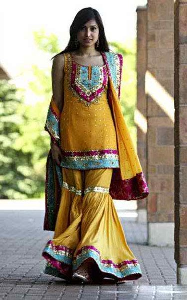 Fashion Of Sharara Mehndi Dresses 2014 For Women  006