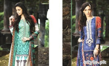 Maria B Winter Shawl Dresses 2014 For Women 1