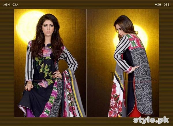 Mashaal Embroidered Shawl Collection 2014 By Lala Textile 1