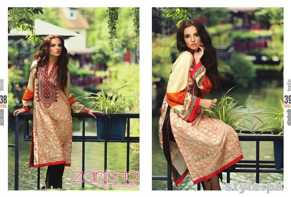 Zanisha Embroidered Linen Dresses 2014 by Al-Zohaib Textile 3