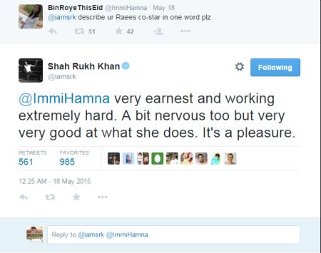 See what SRk says about Mahira Khan