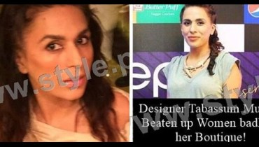 See Designer Tabassum Mughal has beaten a woman with chairs on her Botique