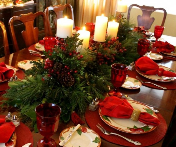 Creative winter home decoration for dinning table