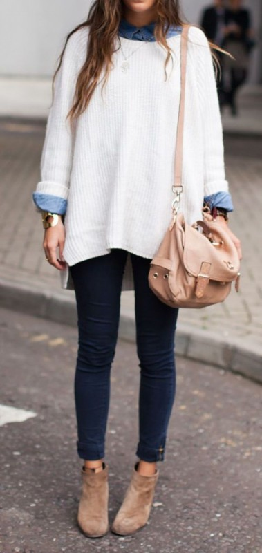 How to Manage White Dresses in Winter- sweater