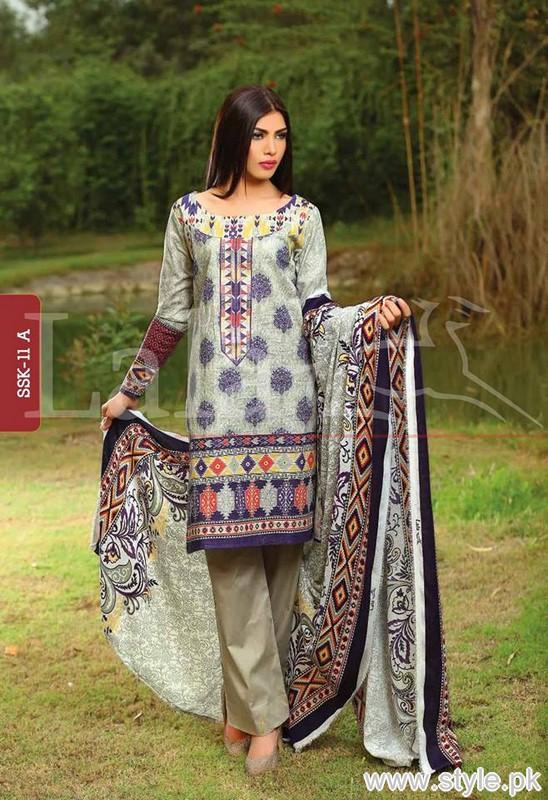 Sana Samia Winter Dresses 2015 by Lala Textile 5