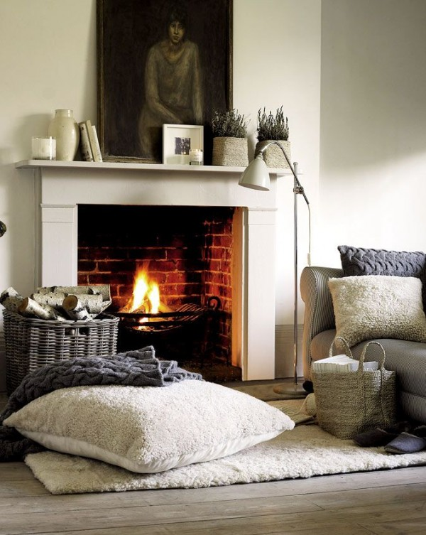 creative winter home decoration for fireplace
