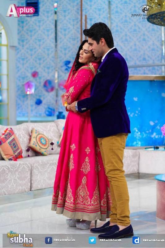 Veena Malik and Asad Bashir in EK Nayee Subha with Farah Today (14)
