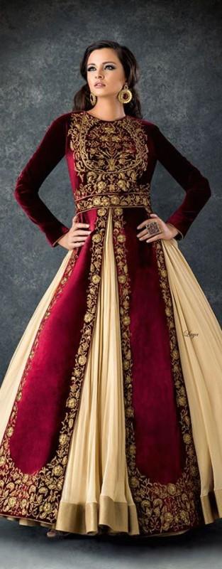 Velvet Bridal dresses  - maroon