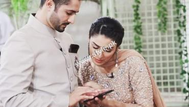 Ayeza khan and danish taimoor on the sets of show