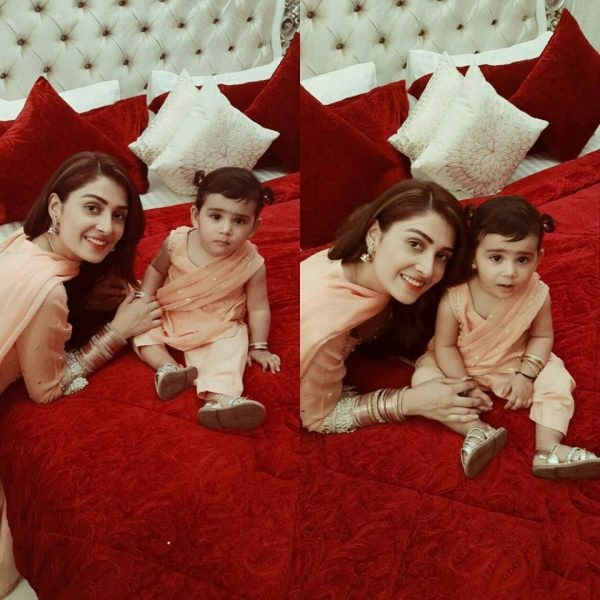 Ayeza Khan With Daughter On Eid 2016