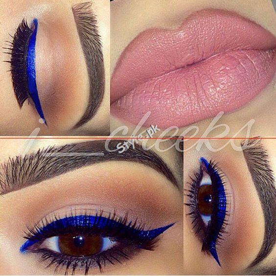 Blue Eyeliner Makeup Ideas03