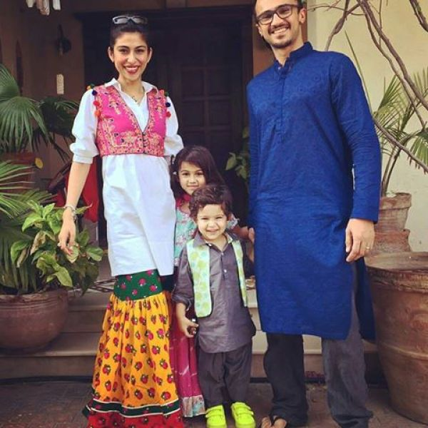 Meesha Shafi With Her Husband And Kids On Eid 2016