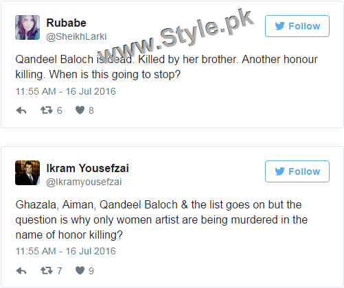 Pakistanis are shocked at Qandeel Baloch's murder (1)