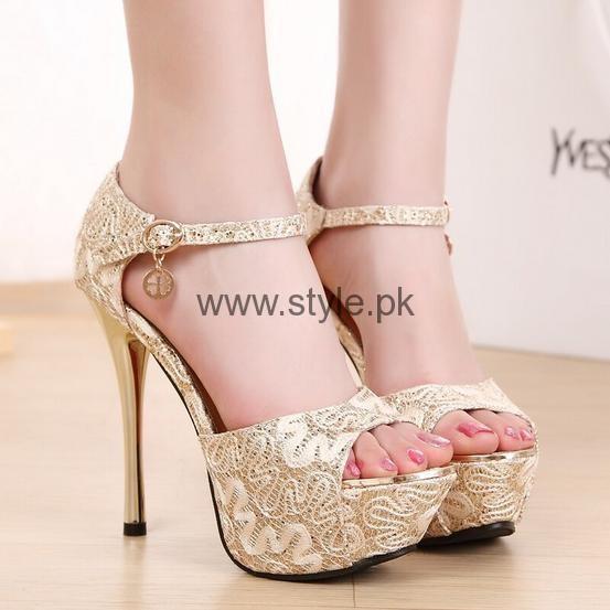 Latest Bridal Golden High Heels 2016 (5)