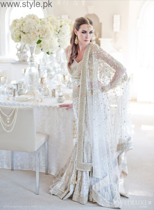 Latest Pakistani White party wear dresses 2016 (13)