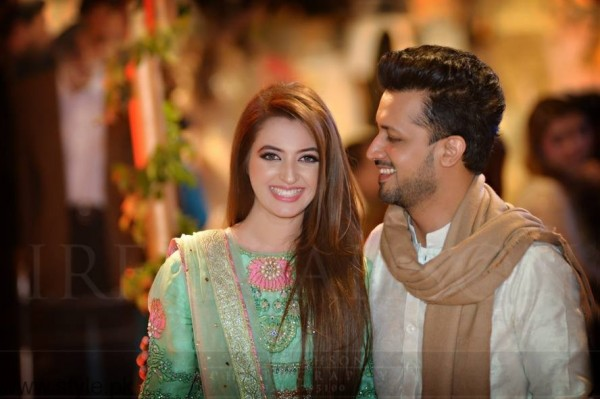 See Atif Alsam with his wife at a Wedding Ceremony in Lahore