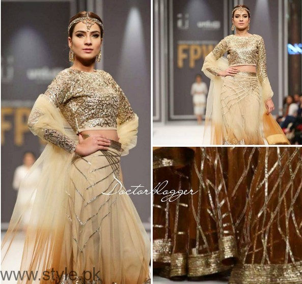 Pakistani Golden Party wear Dresses (3)