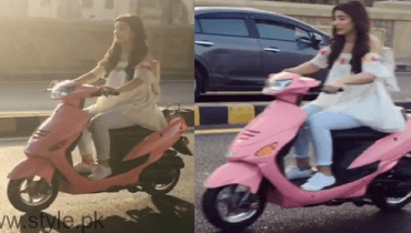 Urwa Hocane Riding Scooty In Karachi Pic