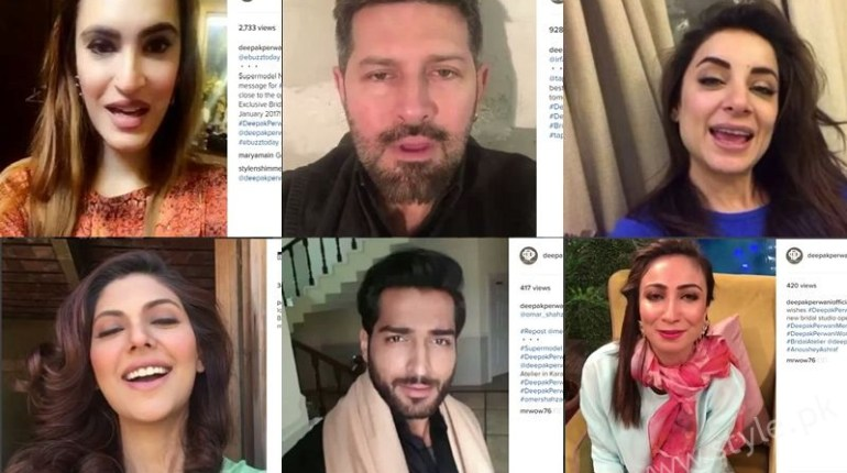 Pakistani Celebrities promoting Deepak Perwani's Bridal Studio