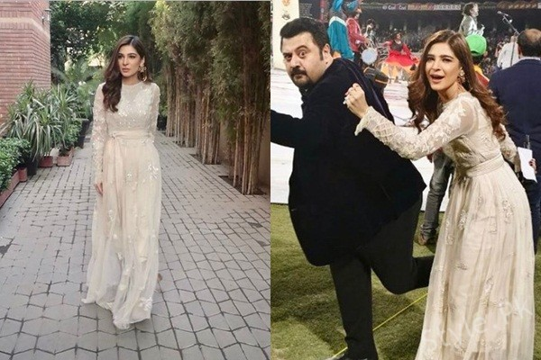 See Ayesha Omar looks Stunning in White Dress at PSL Final Match