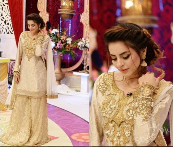 See Fatima Effendi Slays in Dull Golden Outfit on the set of Eid Show